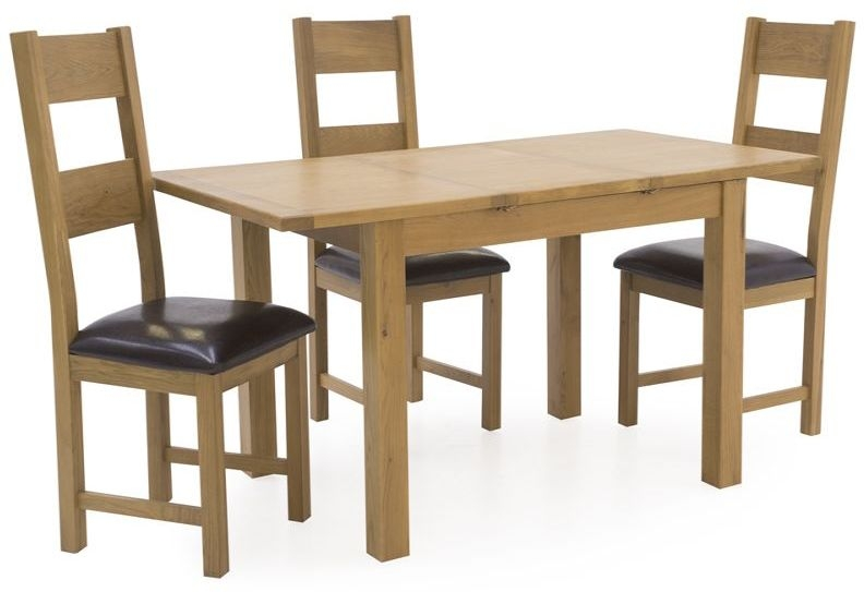 Vida Living Arden Solid Oak Extending Dining Set with 4 Chair - Rectangular