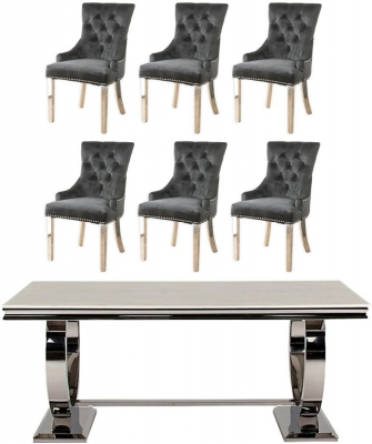 Vida Living Arianna 180cm Dining Table with 6 Black Velvet Knockerback Chairs - Cream Marble and Stainless Steel Chrome