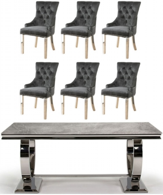 Vida Living Arianna 180cm Dining Table with 6 Black Velvet Knockerback Chairs - Grey Marble and Stainless Steel Chrome