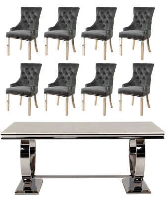 Buy Vida Living Arianna Cream Marble and Chrome 200cm Dining Table with 6 Black Knockerback Chrome Leg Chairs and Get 2 Extra Chairs Worth £398 For FREE