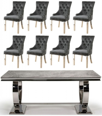Vida Living Arianna 200cm Large Dining Table with 8 Black Velvet Knockerback Chairs - Grey Marble and Stainless Steel Chrome