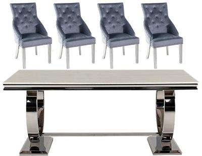 Vida Living Arianna 180cm Cream Marble Dining Table with Grey Knockerback Chrome Leg Chairs
