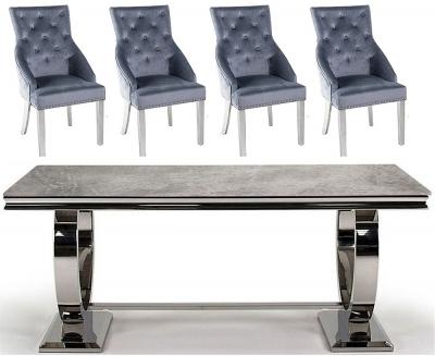 Vida Living Arianna 200cm Grey Marble Dining Table with Grey Knockerback Chrome Leg Chairs