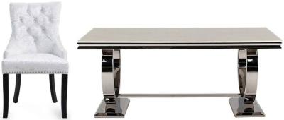 Vida Living Arianna Cream Marble with Stainless Steel Base Rectangular Dining Set with 4 Mink Velvet Knockerback Chairs - 180cm