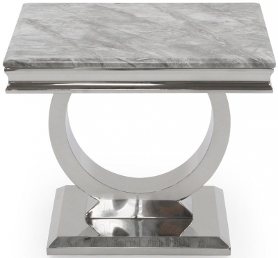 Vida Living Arianna Grey Marble Lamp Table