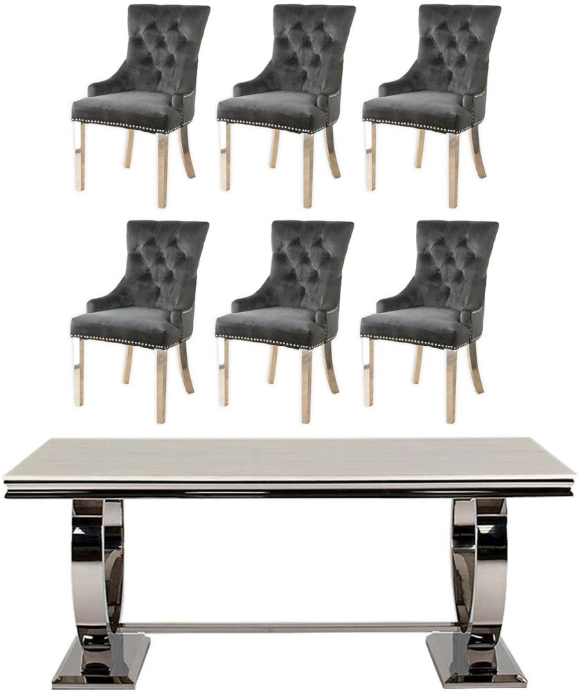 Vida Living Arianna 180cm Cream Marble and Stainless Steel Chrome Dining Table with 6 Black Velvet Knockerback Chairs