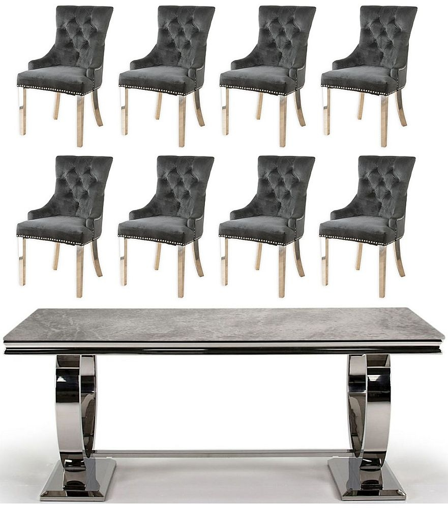 Vida Living Arianna 200cm Grey Marble and Stainless Steel Chrome Dining Table with 8 Black Velvet Knockerback Chairs