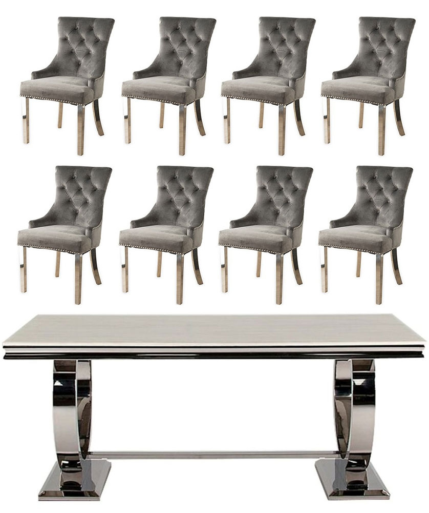 Vida Living Arianna 200cm Cream Marble and Stainless Steel Chrome Dining Table with 8 Grey Velvet Knockerback Chairs