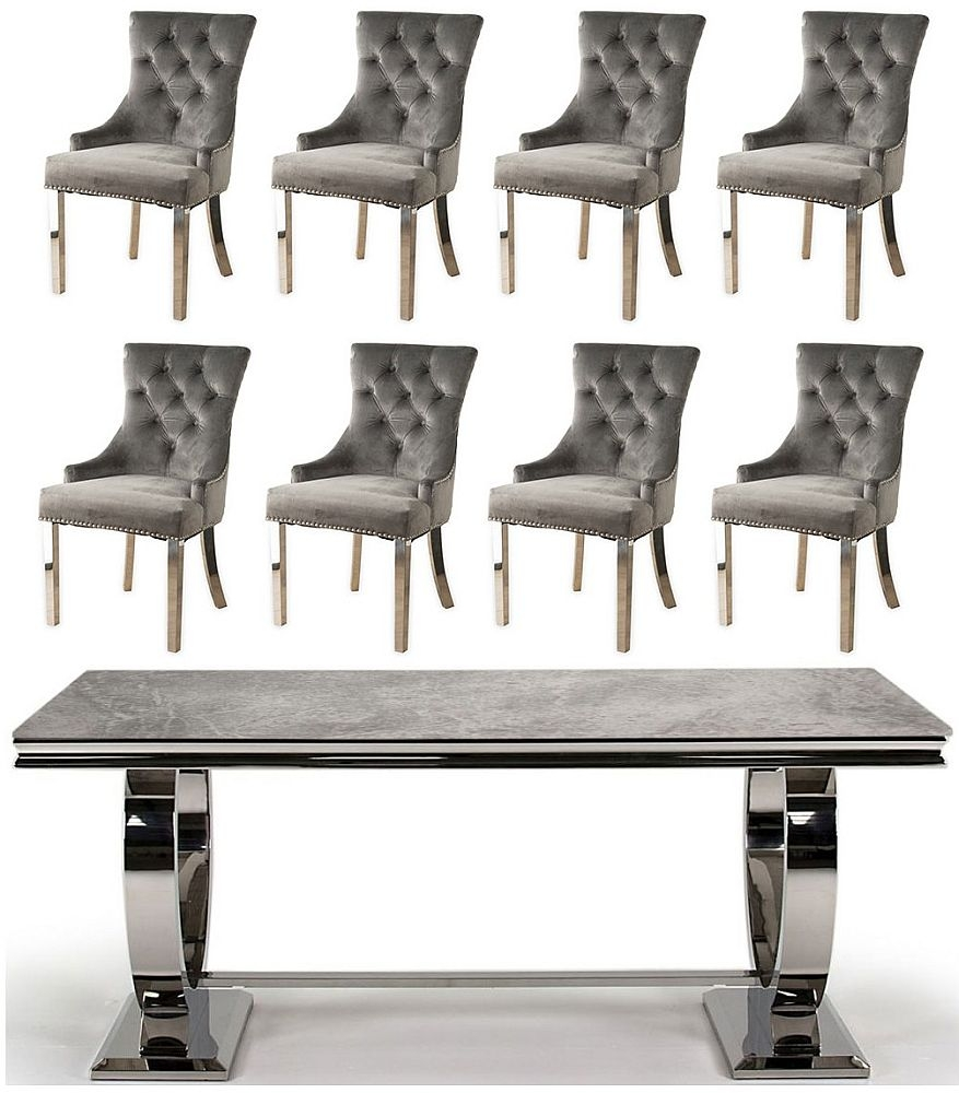 Vida Living Arianna 200cm Grey Marble and Stainless Steel Chrome Dining Table with 8 Grey Velvet Knockerback Chairs