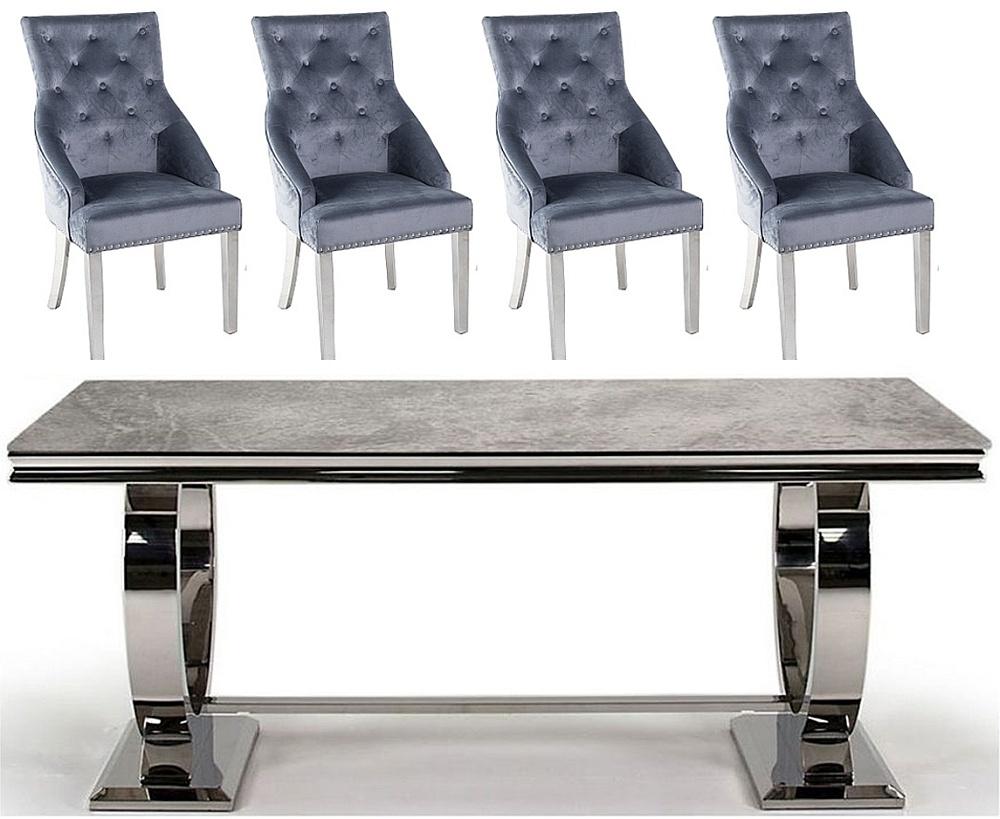 Vida Living Arianna 180cm Grey Marble Dining Table with Grey Knockerback Chrome Leg Chairs