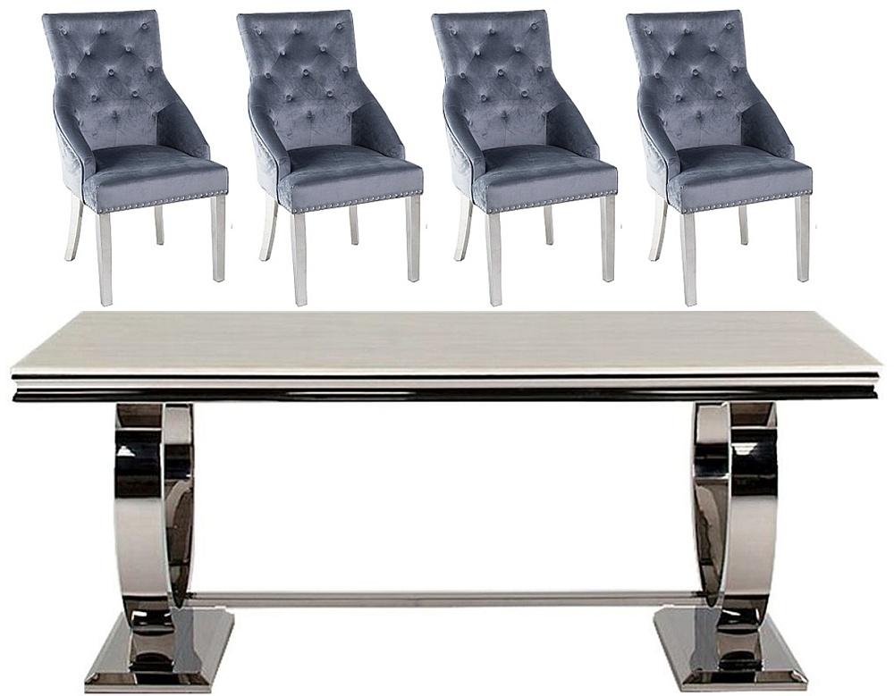 Vida Living Arianna 200cm Cream Marble Dining Table with Grey Knockerback Chrome Leg Chairs