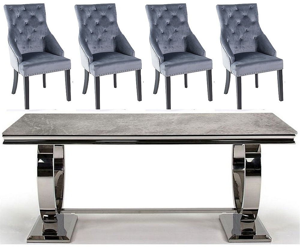 Vida Living Arianna 180cm Grey Marble Dining Table with Grey Knockerback Chairs