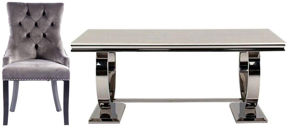 Vida Living Arianna Cream Marble with Stainless Steel Base Rectangular Dining Set with 6 Grey Velvet Knockerback Chairs - 200cm