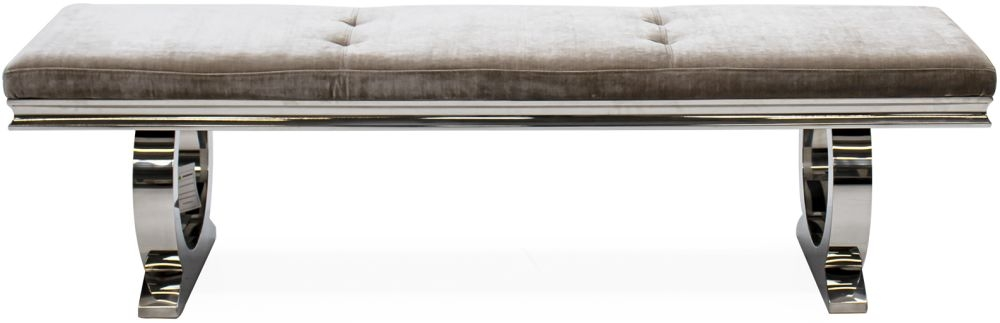 Vida Living Arianna Champagne Velvet and Stainless Steel Chrome Dining Bench