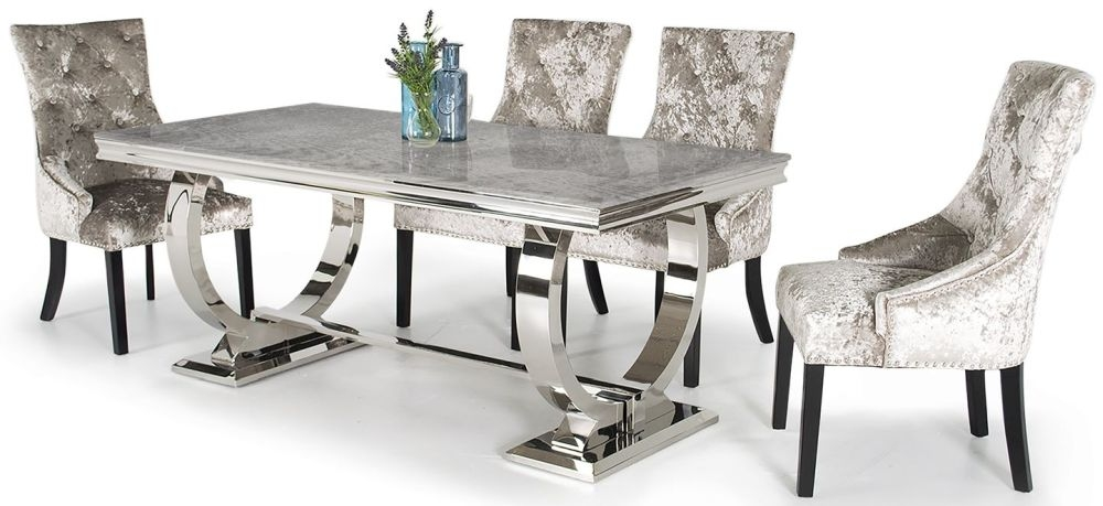 Vida Living Arianna Grey Marble Dining Set with Stainless Steel Base - 180cm with 4 Eden Knockerback Mink Chairs