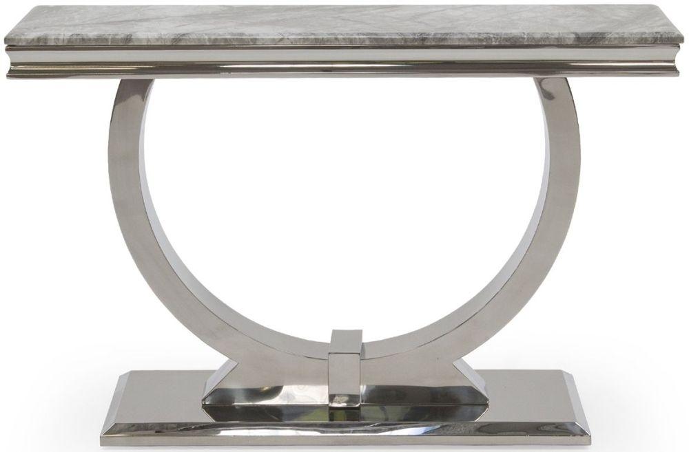 Vida Living Arianna Console Table - Grey Marble and Chrome