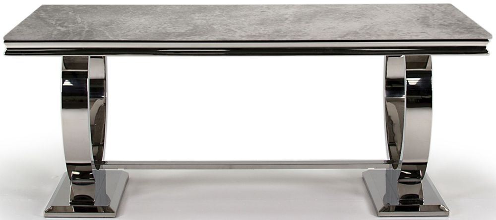 Vida Living Arianna Grey Marble Dining Table with Stainless Steel Base - 180cm Rectangular Fixed Top