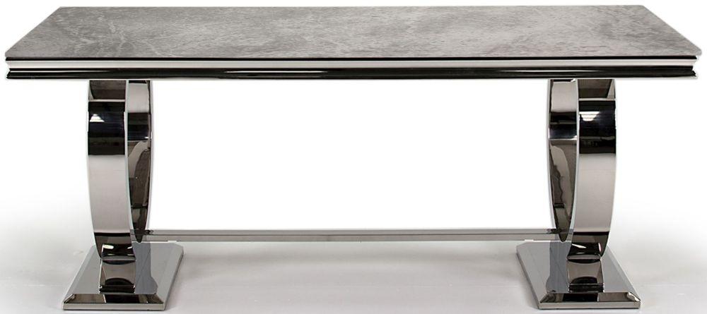 Vida Living Arianna Dining Table - Grey Marble and Chrome