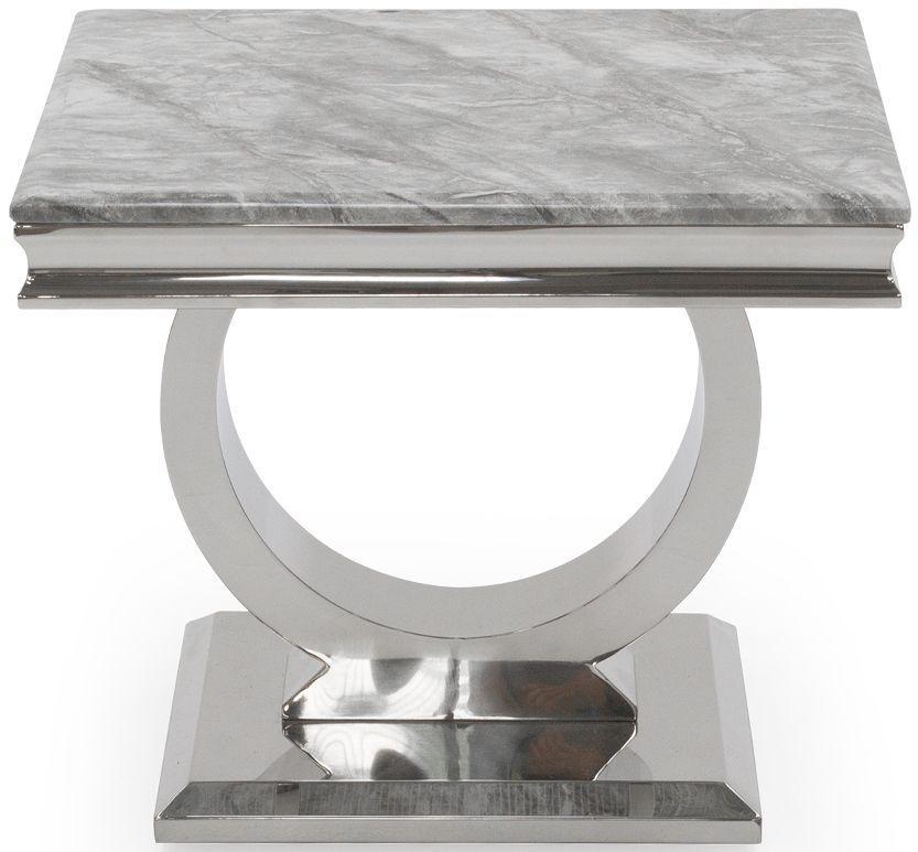Vida Living Arianna Lamp Table - Grey Marble and Chrome