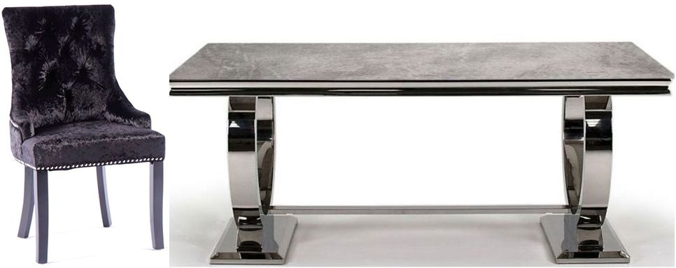 Vida Living Arianna Grey Marble with Stainless Steel Base Rectangular Dining Set with 6 Black Velvet Knockerback Chairs - 200cm