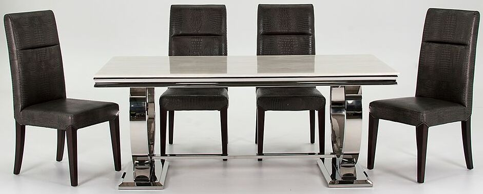 Vida Living Arianna Marble 200cm Dining Set - 4 Chairs