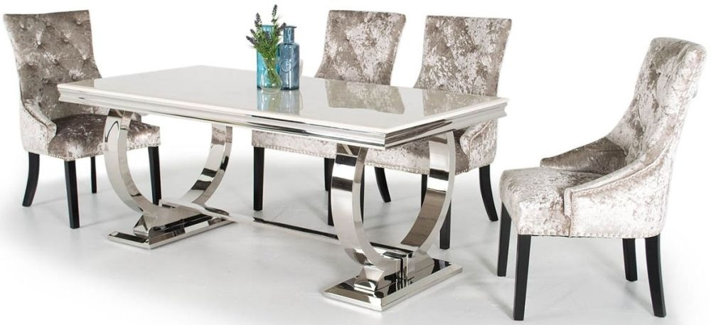 Vida Living Arianna Cream Marble Dining Set With Stainless Steel Base