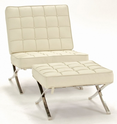 Vida Living Barcelona Leather Armchair with Footstool - Ivory