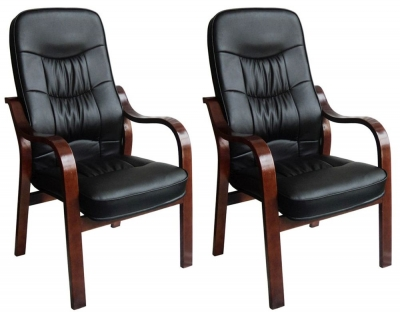 Vida Living Hanley Fire Side Leather Armchair (Pair) - Black