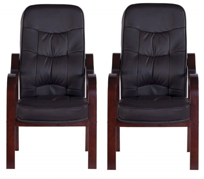 Vida Living Hanley Fire Side Leather Armchair (Pair) - Brown