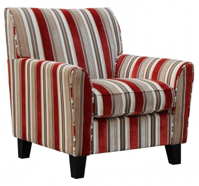 Vida Living Vienna Accent Fabric Fixed Armchair - Striped