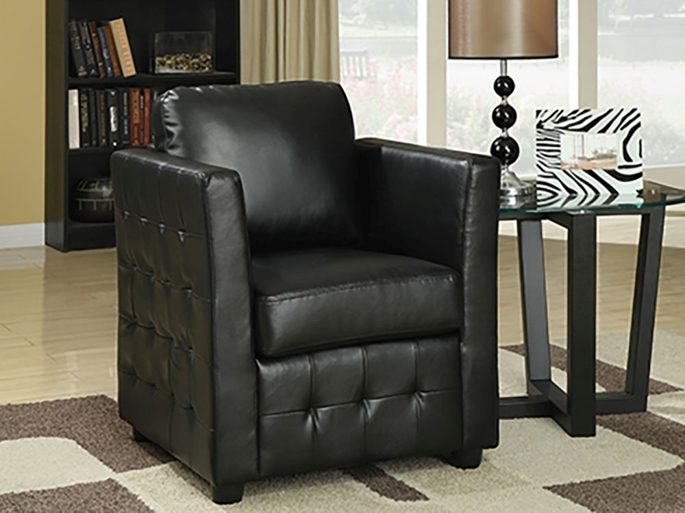 Vida Living Bari Club Leather Armchair - Black