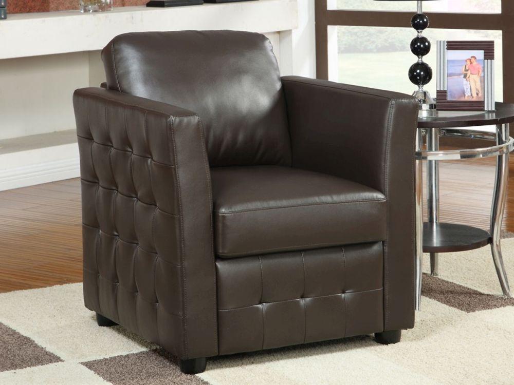 Vida Living Bari Club Leather Armchair - Brown