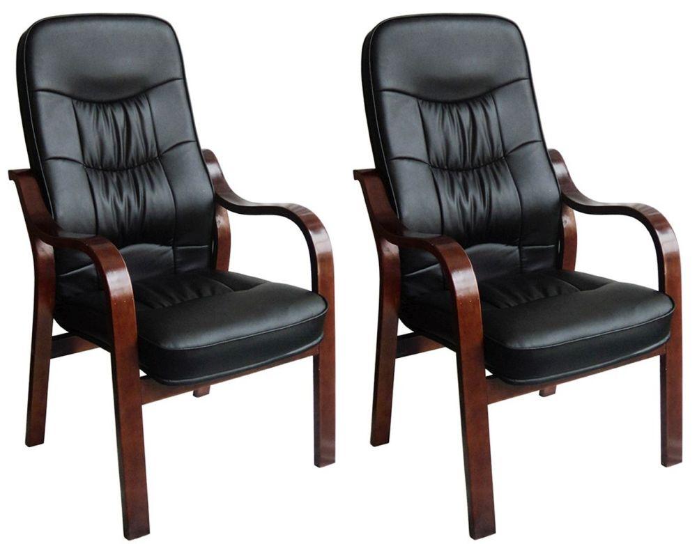 Vida Living Hanley Fire Side Leather Armchair (Pair) - Black