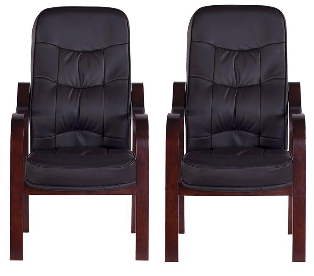 Vida Living Hanley Fire Side Leather Armchair (Pair) - Brown