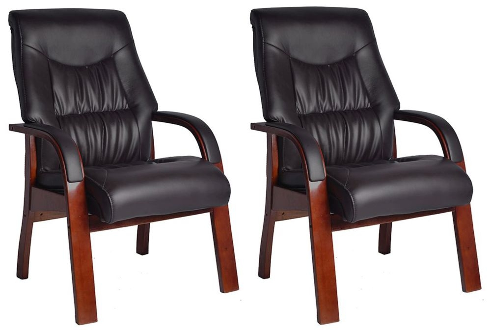Vida Living Jacob Fire Side Leather Armchair (Pair) - Black