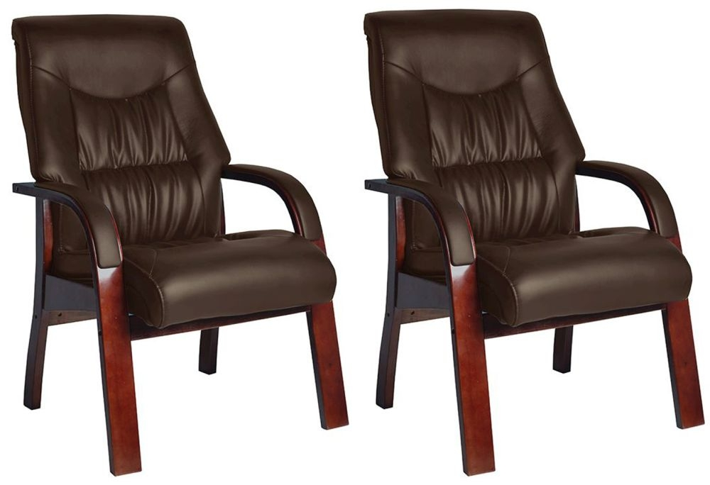 Vida Living Jacob Fire Side Leather Armchair (Pair) - Brown