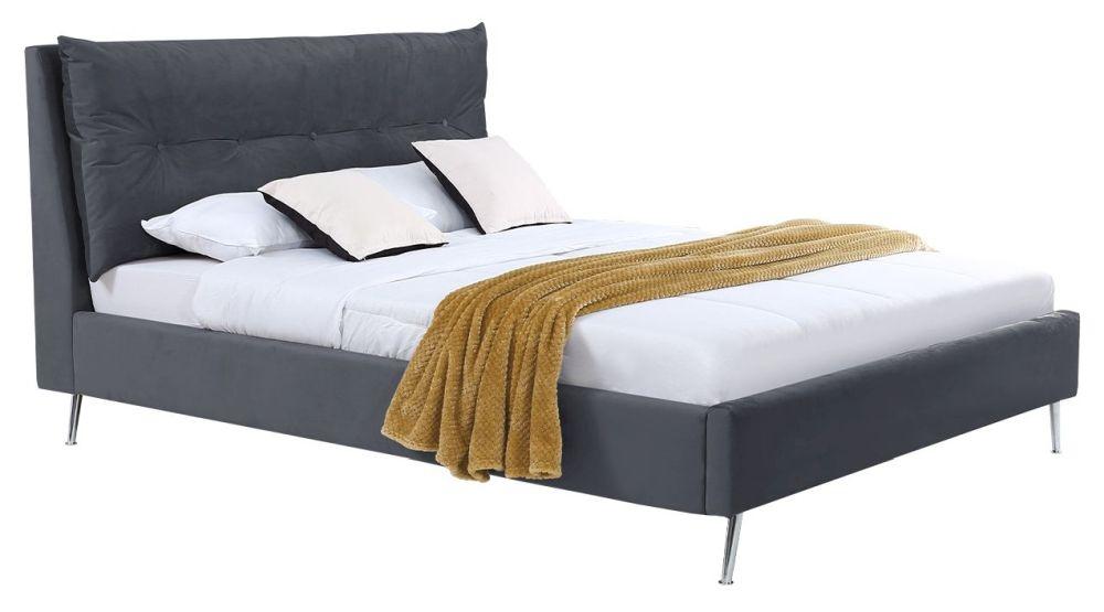 Vida Living Avery Grey Velvet Bed