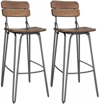 Vida Living Delta Rustic Elm Bar Chair (Pair)
