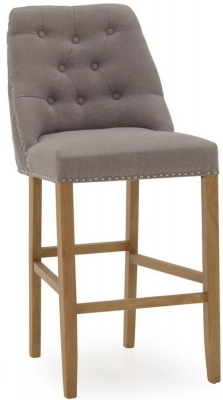 Vida Living Eldridge Grey Linen Fabric Bar Chair