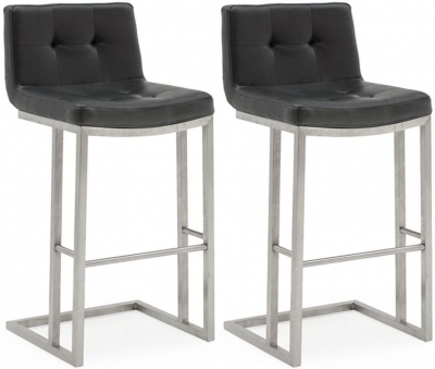 Vida Living Elstra Black Faux Leather Barstool (Pair)
