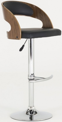 Vida Living Flair Walnut Black Bar Chair
