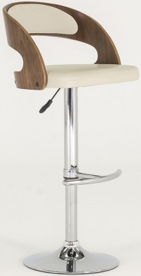 Vida Living Flair Walnut Cream Bar Chair