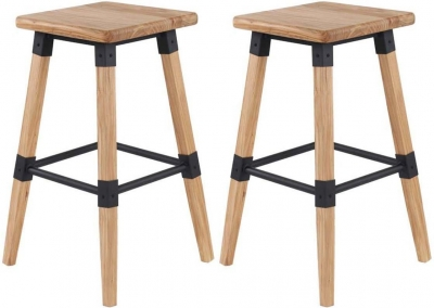 Vida Living Lock Natural Elm Bar Stool (Pair)