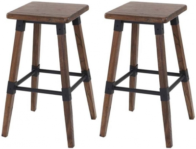 Vida Living Lock Rustic Elm Bar Stool (Pair)