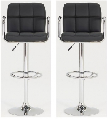 Vida Living Miami Black Leather Bar Stool (Pair)