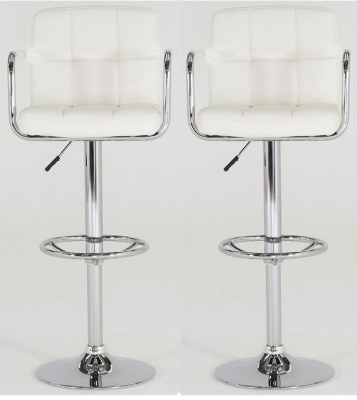 Vida Living Miami White Leather Bar Stool (Pair)