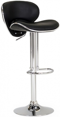 Vida Living Nigella Black Leather Bar Stool
