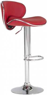 Vida Living Nigella Red Leather Bar Stool