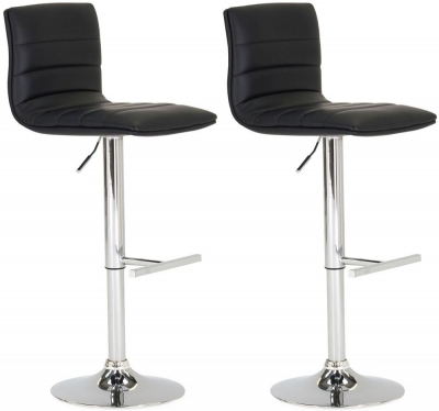 Vida Living Retro Black Leather Bar Stool (Pair)
