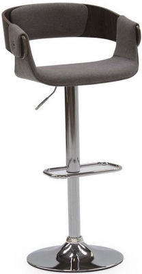 Vida Living Rita Grey Fabric Bar Chair with Gas Lift